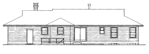 Ranch House Plan 55384 Rear Elevation
