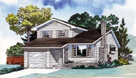 House Plan 55385 | Traditional Style Plan with 1581 Sq Ft, 3 Bedrooms, 3 Bathrooms, 1 Car Garage Elevation