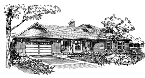 House Plan 55386 | Ranch Style Plan with 1746 Sq Ft, 3 Bedrooms, 2 Bathrooms, 2 Car Garage Elevation