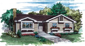 Traditional House Plan 55388 with 3 Beds, 2 Baths Elevation