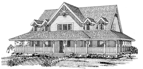 Country House Plan 55389 Elevation