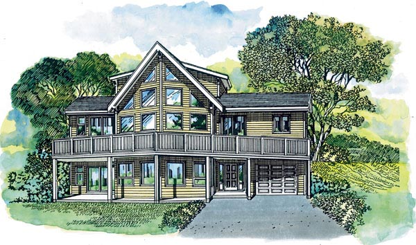 Contemporary House Plan 55391 Elevation