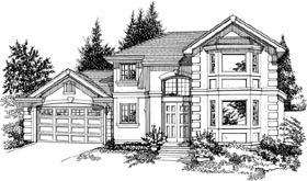 European House Plan 55392 with 3 Beds, 4 Baths, 2 Car Garage Elevation