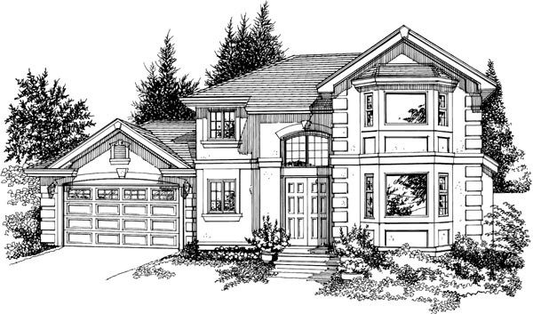European House Plan 55392 with 3 Beds, 4 Baths, 2 Car Garage Elevation