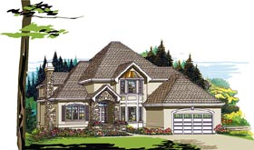 House Plan 55394 | European Style Plan with 2851 Sq Ft, 4 Bedrooms, 3 Bathrooms, 2 Car Garage Elevation