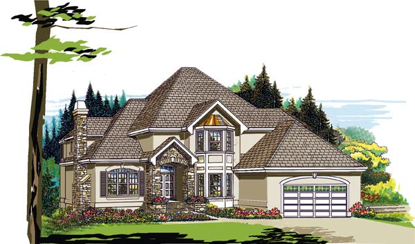 European House Plan 55394 Elevation