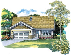 House Plan 55396 with 3 Beds, 2 Baths, 2 Car Garage Elevation