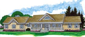 Country House Plan 55397 with 3 Beds, 2 Baths, 2 Car Garage Elevation