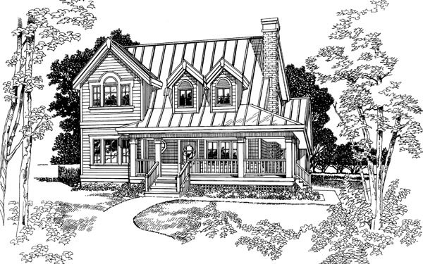 Country House Plan 55402 with 3 Beds, 2 Baths Elevation