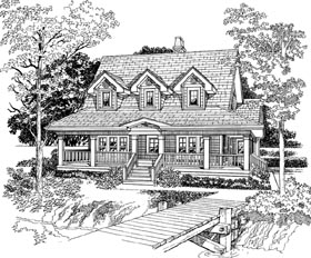 House Plan 55403   Country Style Plan with 1715 Sq Ft, 3 Bedrooms, 2 Bathrooms Elevation