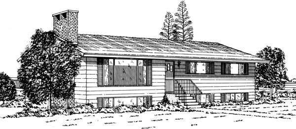 Ranch House Plan 55409 with 3 Beds, 2 Baths Elevation