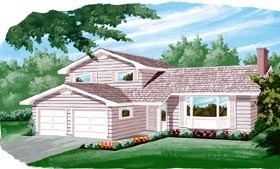 Traditional House Plan 55416 with 3 Beds, 3 Baths, 2 Car Garage Elevation