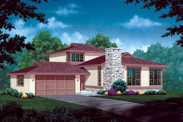 Contemporary House Plan 55417 with 3 Beds, 3 Baths, 2 Car Garage Elevation