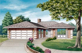 House Plan 55418 | Contemporary Style Plan with 1385 Sq Ft, 3 Bedrooms, 2 Bathrooms, 2 Car Garage Elevation