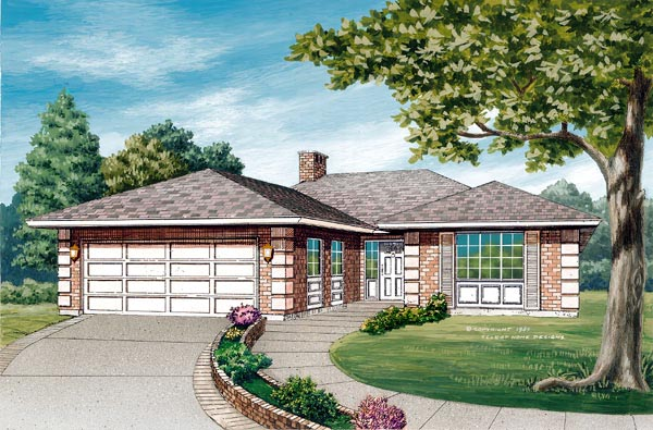 Contemporary House Plan 55418 Elevation