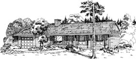 House Plan 55419 | Ranch Style Plan with 1377 Sq Ft, 3 Bedrooms, 2 Bathrooms, 1 Car Garage Elevation