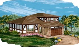 House Plan 55420 | Tudor Style House Plan with 1939 Sq Ft, 4 Bed, 2 Bath, 2 Car Garage Elevation