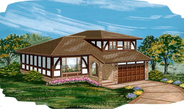 Tudor House Plan 55420 with 4 Beds, 2 Baths, 2 Car Garage Elevation