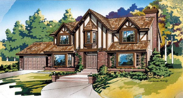 Tudor House Plan 55422 with 4 Beds, 3 Baths, 2 Car Garage Elevation