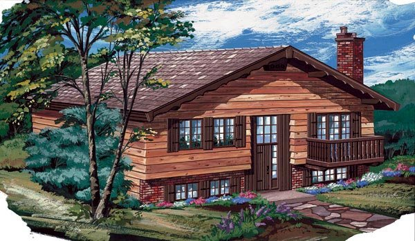 House Plan 55425 | Contemporary Style Plan with 1102 Sq Ft, 3 Bedrooms, 2 Bathrooms Elevation