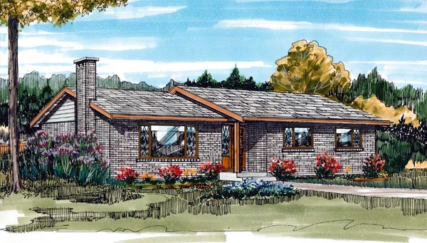 Ranch House Plan 55426 Elevation