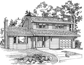Traditional House Plan 55428 with 3 Beds, 2 Baths, 1 Car Garage Elevation