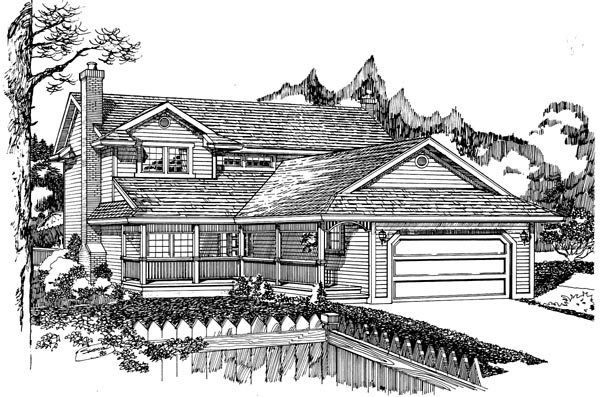 Traditional House Plan 55431 with 3 Beds, 3 Baths, 2 Car Garage Elevation
