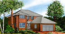 European House Plan 55436 with 4 Beds, 3 Baths, 2 Car Garage Elevation