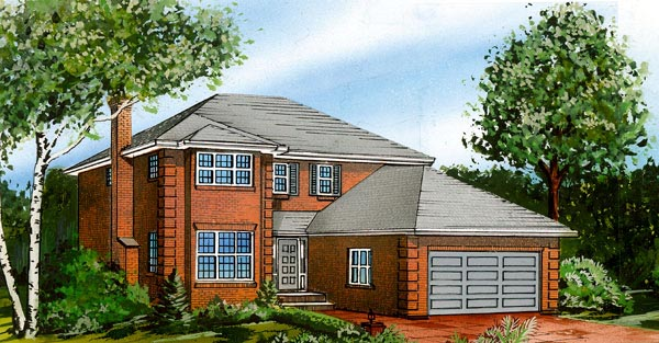 European House Plan 55436 Elevation