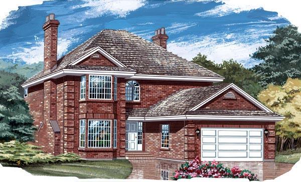 European House Plan 55437 Elevation