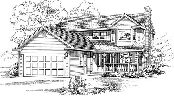 House Plan 55439 | Traditional Style House Plan with 1956 Sq Ft, 3 Bed, 3 Bath, 2 Car Garage Elevation