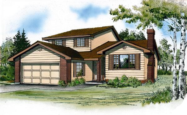 Narrow Lot , Traditional , Elevation of Plan 55441