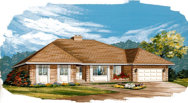 House Plan 55442 | European Style Plan with 2042 Sq Ft, 3 Bedrooms, 2 Bathrooms, 2 Car Garage Elevation