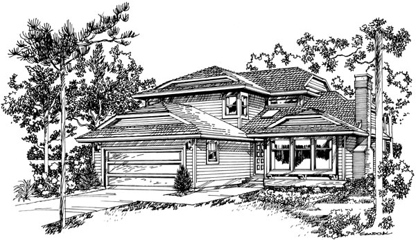 Contemporary House Plan 55443 Elevation