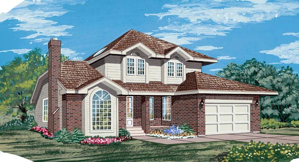 European House Plan 55444 Elevation