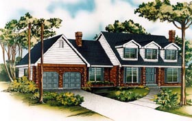 House Plan 55445 | Cape Cod Style Plan with 2255 Sq Ft, 3 Bedrooms, 3 Bathrooms, 2 Car Garage Elevation