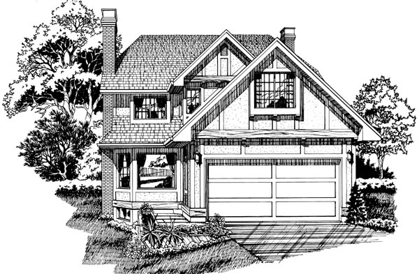 Narrow Lot, Tudor House Plan 55446 with 3 Beds, 3 Baths, 2 Car Garage Front Elevation