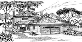 House Plan 55451 | Traditional Style Plan with 1924 Sq Ft, 3 Bedrooms, 3 Bathrooms, 2 Car Garage Elevation