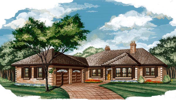 House Plan 55452 | Traditional Style Plan with 1937 Sq Ft, 3 Bedrooms, 2 Bathrooms, 2 Car Garage Elevation