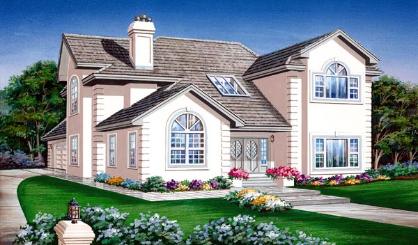 European House Plan 55454 Elevation