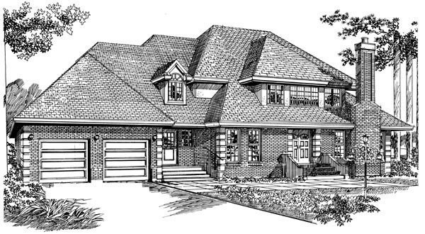 European House Plan 55455 with 4 Beds, 3 Baths, 2 Car Garage Elevation