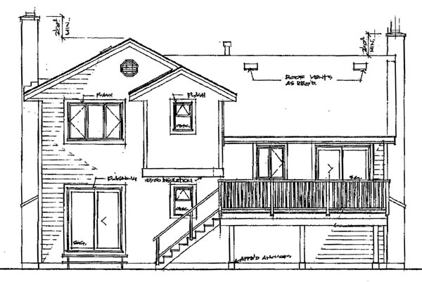 Traditional House Plan 55461 Rear Elevation
