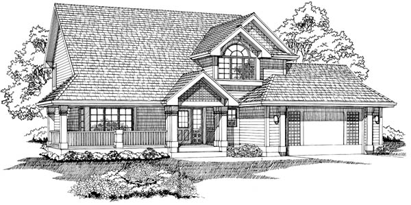 Country House Plan 55465 with 3 Beds, 3 Baths, 2 Car Garage Elevation