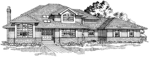 Contemporary House Plan 55467 Elevation