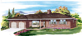 Ranch House Plan 55468 with 3 Beds, 2 Baths, 2 Car Garage Elevation