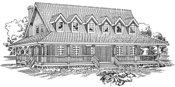 Country House Plan 55470 with 3 Beds, 3 Baths Elevation