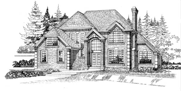 European House Plan 55479 with 4 Beds, 5 Baths, 3 Car Garage Elevation