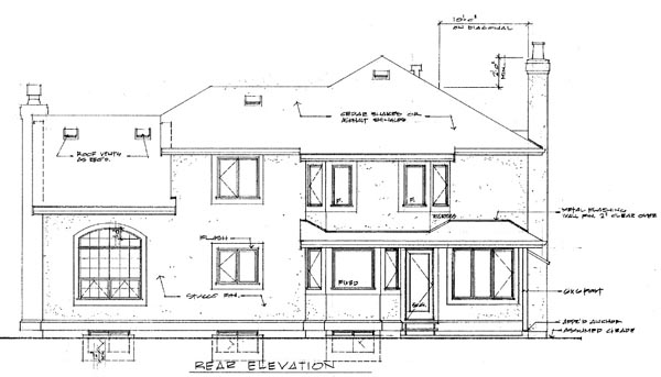 Mediterranean Rear Elevation of Plan 55485