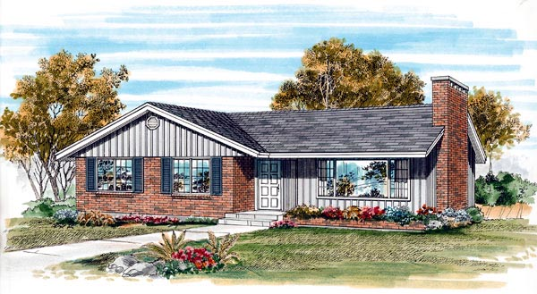 One-Story, Ranch House Plan 55486 with 3 Beds, 1 Baths, 1 Car Garage Elevation