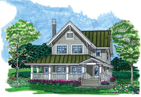 Farmhouse House Plan 55487 with 3 Beds, 3 Baths Elevation